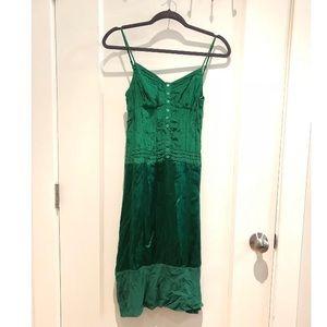 Dresses & Skirts - BCBG silk emerald strap slip dress